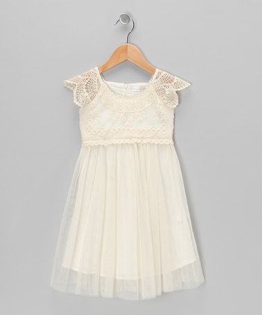 Take a look at this Cream Crochet Tulle Dress - Infant, Toddler & Girls by Designer Kidz on #zulily today!