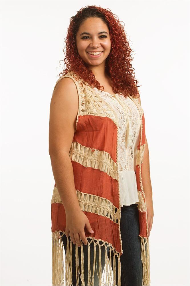 Stay breezy with the Burnt Orange crochet fringe vest! This boho chic vest  is great