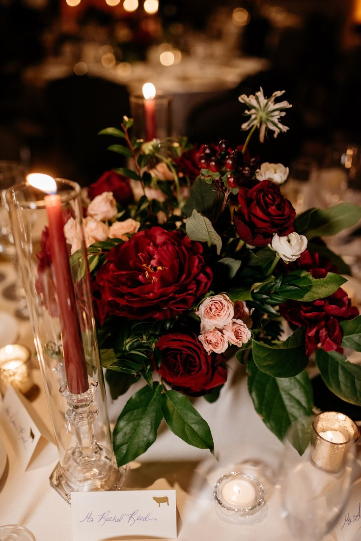 Romantic burgundy and blush centerpieces