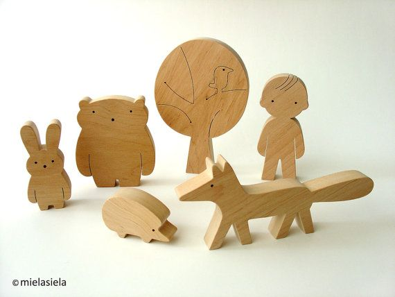 Wooden toy boy and forest friends woodland animals door mielasiela