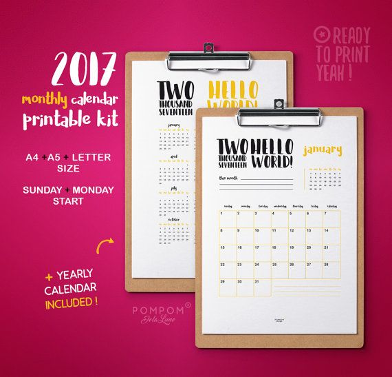 2017 Calendrier imprimable, Calendrier mensuel, planner 2017, agenda organisation 2017 calendrier téléchargeable A4 A5