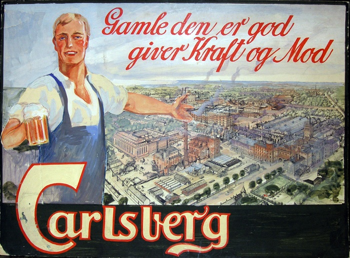 Carlsberg poster with a view of the  Carlsberg district in Copenhagen. Created by the illustrator Franz Sedivy. 1926.