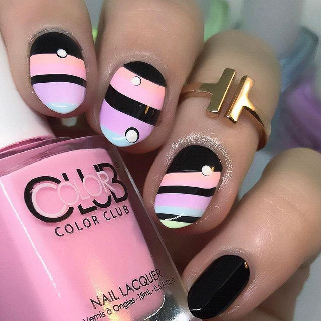 Black and Pastel Watermarble Stripes. Mistakes Will Be Made!!  Just can't get enough of these @colorclubnaillacquer Poptastic Pastel Neon collection.   I used 2 Black polishes, for The Watermarble I used @cucciocolour 2AM in Hollywood from @hbbeautybar And for my pinkie I used @cirquecolors memento Mori.   Also #Orly French Tips from @hbbeautybar  for the white base.   Gold Bar Ring is from @sonailicious_boutique .   FULL TUTORIAL IS ALREADY LIVE ON MY YOUTUBE CHANNEL. LINK IN MY BIO.�...