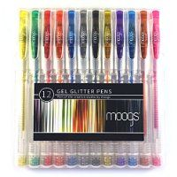 Gel Glitter Pens - 12 colored pens with glitter ink by moogs. With smooth even flow these high quality pens won't bleed. Each set comes with a protective case/stand and exclusive free wallpaper for mobile devices. MAKE AWESOME ART THAT POPS!
