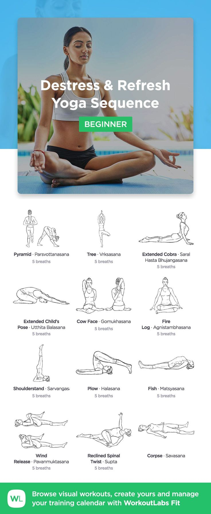 Destress and Refresh Yoga Sequence for beginners by WorkoutLabs Fit · View and download printable PDF: https://workoutlabs.com/s/uHIut