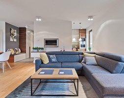 Apartament Wille Parkowa 2 - Średni salon z kuchnią z jadalnią, styl skandynawski - zdjęcie od superpozycja architekci