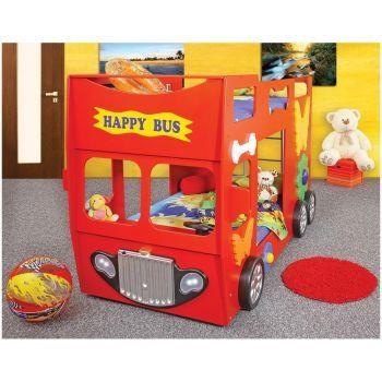 Patut in forma de masina Happy Bus - Plastiko - Rosu pentru copii