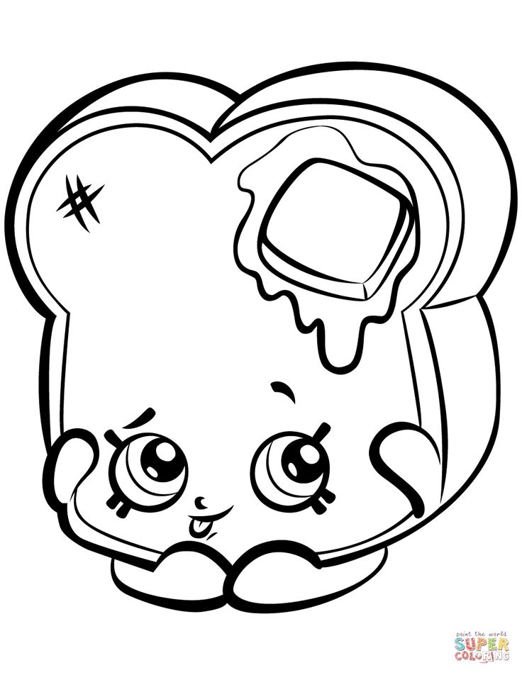Toastie bread shopkin coloring page free printable coloring pages
