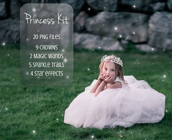 Princess Kit overlays  It contains: 20high quality PNG images. - 9 Crowns - 2 Magic wands - 5 Sparkle trails - 4 Star effects  The color of the overlays are white, but you can change the color in Photoshop. It is compatible with Photoshop Elements and Photoshop CS, Paint Shop Pro and other image editing software that works with layers.  If you are Lightroom user, make sure you have a plugin that allows you to work with layers.  You may also be interested in: Fairy Wings Overlays…