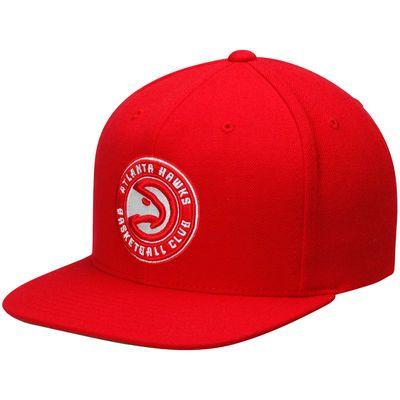 Men's Atlanta Hawks Mitchell & Ness Red Current Logo Wool Solid Snapback Adjustable Hat