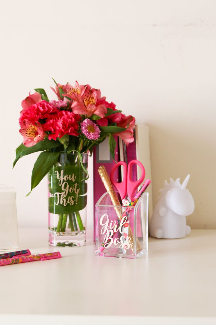 Personalize your space with our Girl Boss Acrylic Pen Organizer Desk Accessory. Makes a great grad gift! Reads 'Girl Boss' in white vinyl lettering. Clear acrylic pen/pencil organizer.