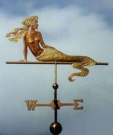 Mermaid Weathervane with Wavy Tail by West Coast Weather Vanes