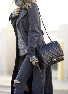 Gray turtleneck sweater, gray coat, black ripped jeans, and a large Chanel bag. #shopstyle