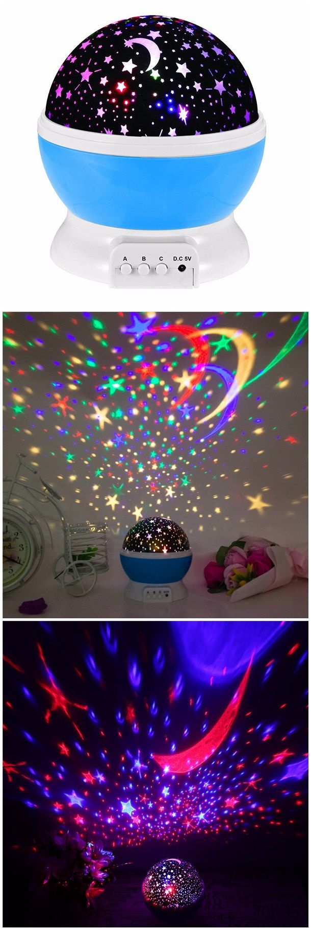 Save $13.55 Romantic Rotating Spin Night Light Projector Cosmos Sky Star Moon USB Lamp LED Projection Home Decor
