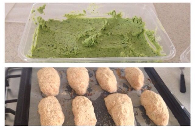 You'll never see a packet Kiev in my kitchen again. The butter is great to freeze alone (especially if you have sad looking herbs around) & the kievs can be frozen as well. I prefer to just oven cook mine rather then fry & then oven cook.     http://skinnymixers.com.au/2015/06/skinnymixers-lchf-chicken-kiev/