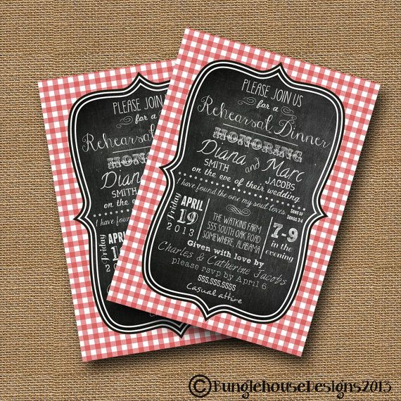 "Rehearsal Dinner Bridal Shower Picnic Shabby Cottage Chic Invitation DIY PRINTABLE ""Gingham Chalkboard"" Christian Scripture Bible Verse Card"