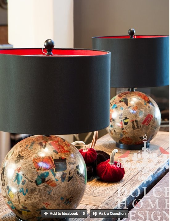 Paper mache lamp bases with black lined in red shades.  Awesome DIY project