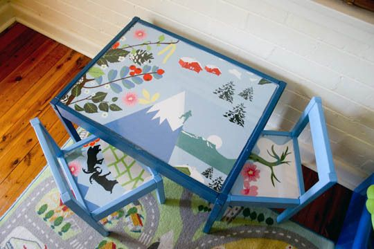 Ikea Latt table and chairs - painted with fabric tops.
