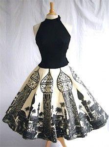 ~50's Arabian black-on-white novelty print circle skirt~