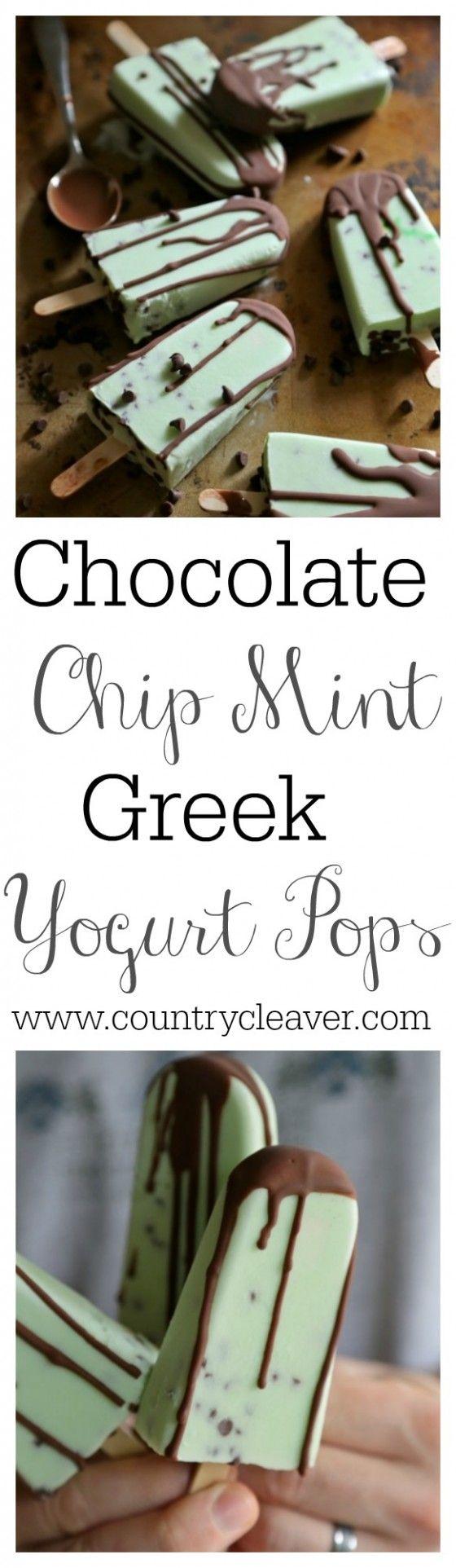 Chocolate Chip Mint Greek Yogurt Pops-- www.countrycleaver.com