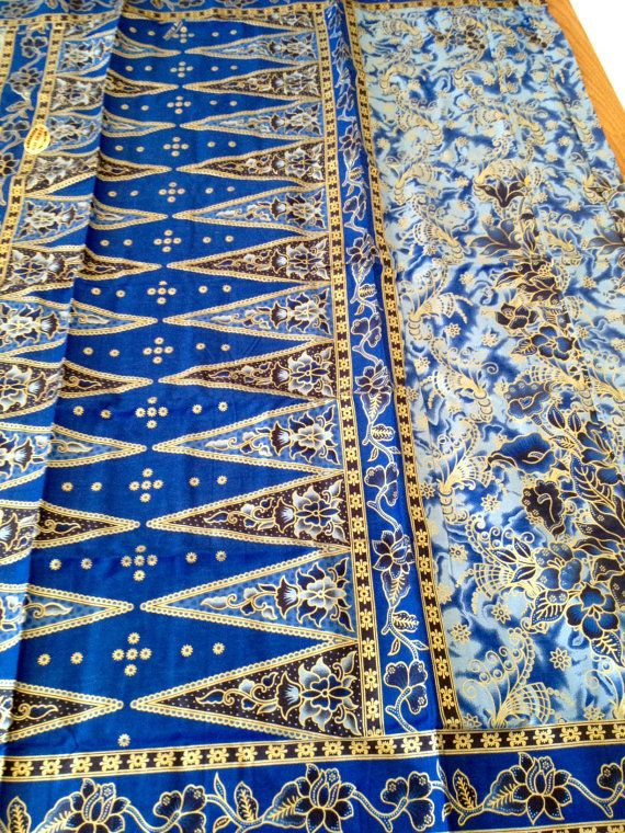 2 Yards Malaysian Batik Fabric Blue Floral Textile Sarong Lightweight Cotton