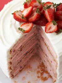 six layer strawberry cake