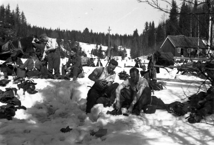7th Company resting after a long advance. Photo by Rudi Margeiter. May, 1940. Snasa, Norway.