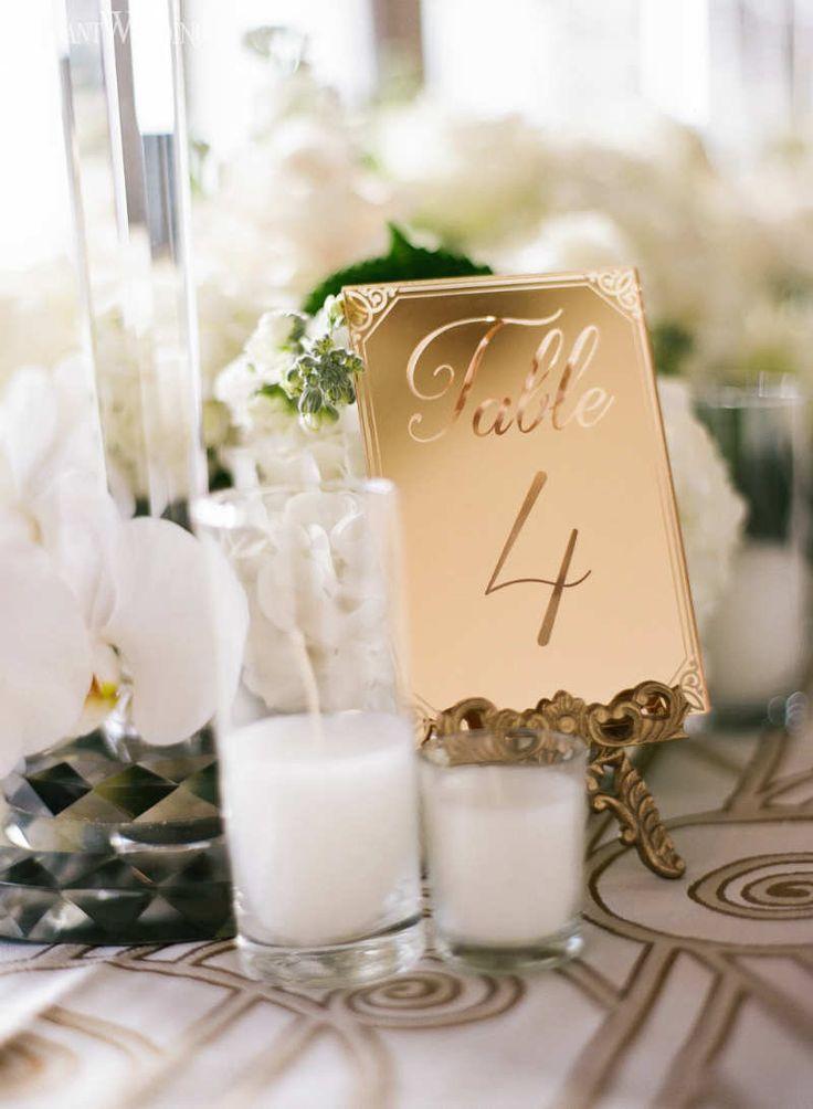 Gold Table Numbers, Vintage Art Deco Rehearsal Dinner Inspiration www.elegantwedding.ca