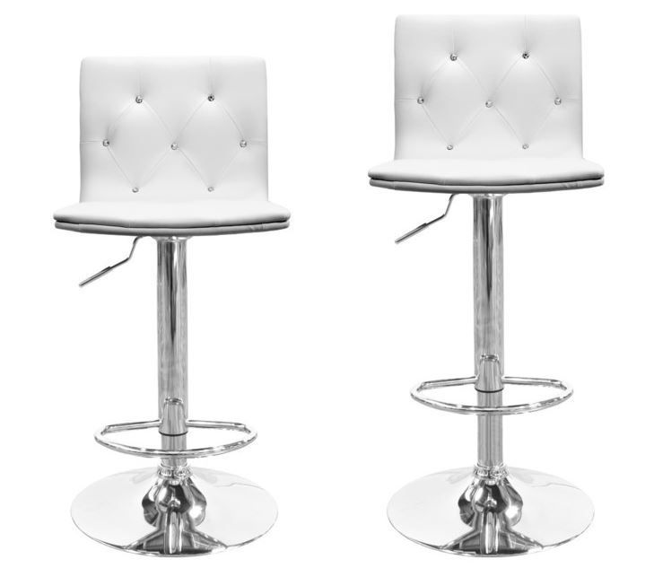 HY2-Piece Modern Swivel Bar Stools With Crystals and Tufted Look, White