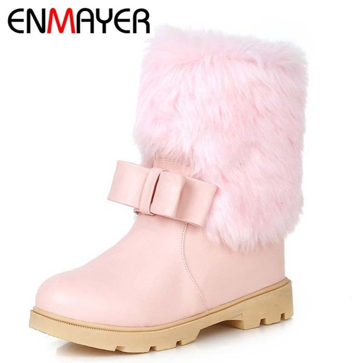 64.13$  Watch here - http://ali093.worldwells.pw/go.php?t=32444988570 - ENMAYERNew Arrive Fashion Snow Boots Autumn Winter Ankle Boots Sexy Black Thin Heels Round Toe Low High Heels Boots for Women 64.13$