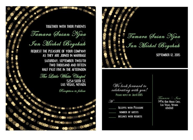Black with Gold Lights Wedding Invitation and RSVP_DIY