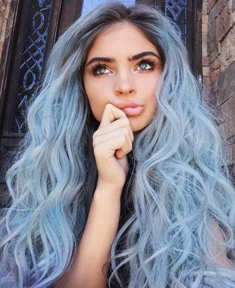 blue long hairstyle / #beauty #hairstyles #makeup