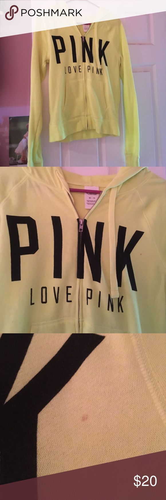 Neon Victoria's Secret PINK sweatshirt Adorable neon yellow zip up sweatshirt from Victoria's Secret PINK. Small stain on the chest, but it is hardly noticeable. PINK Victoria's Secret Tops Sweatshirts & Hoodies