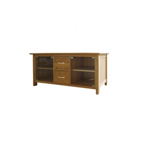 Canterbury Solid Oak MNE30 Large TV Unit with Glass Doors   www.easyFurn.co.uk