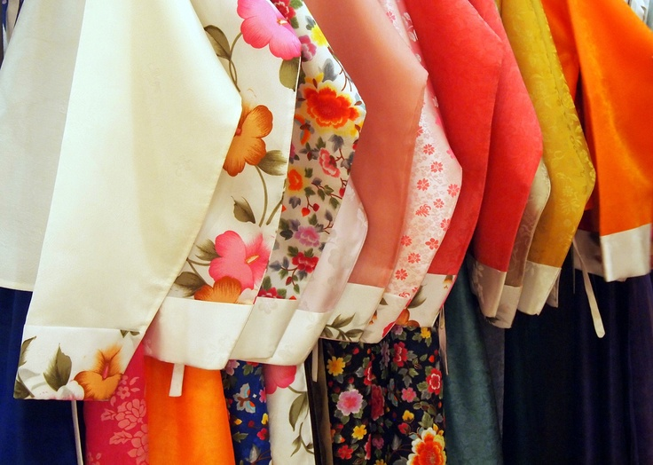 Hanboks, traditional Korean dresses, are often made of delicate silk and use beautiful colors and intricate patterns.  They are still worn today on holidays and special occasions like weddings.