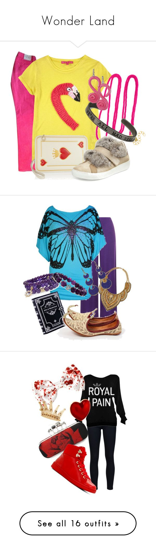 Wonder Land by amber-south-brink on Polyvore featuring Maje, Derhy, BaubleBar, Charlotte Olympia, Cotton Candy, Moncler, WearAll, Annoushka, Sequin and Lagos