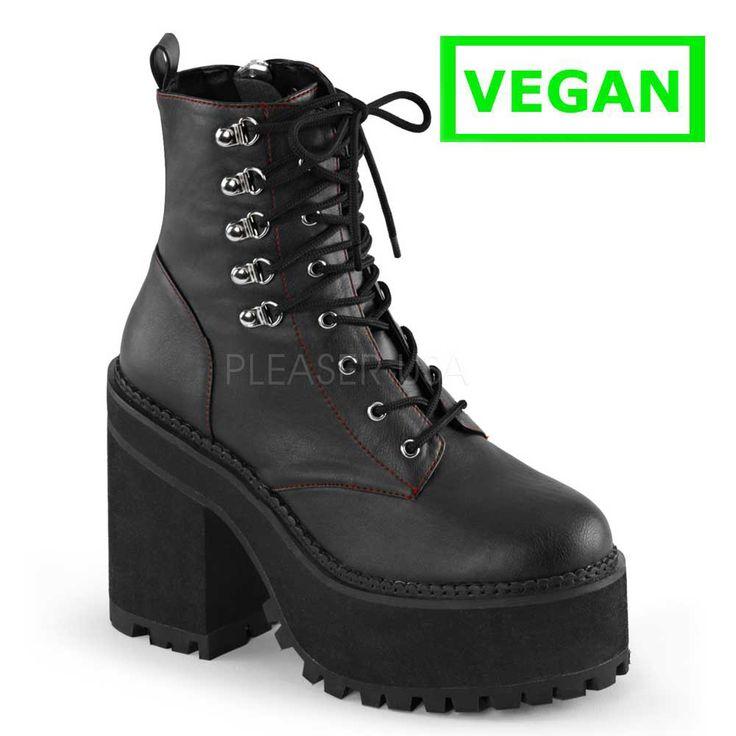 Assault-100 plateau enkellaars met blokhak en ritssluiting mat zwart - Gothic Emo Vegan
