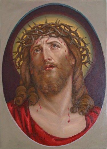 Original oil painting Jezus Chrystus - Artist Michal Nastyszyn m.nastyshyn@gmail.com
