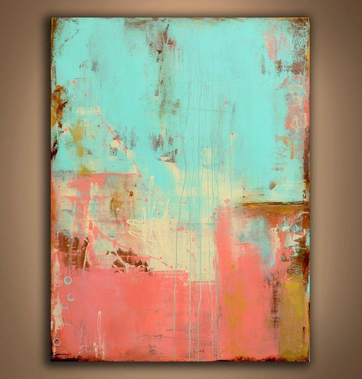pintura arte abstracto con turquesa y fucsia