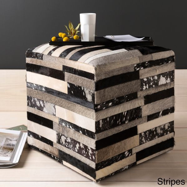 Cattle Range 18-inch Leather Cowhide Cube Pouf - Overstock Shopping - Great Deals on Throw Pillows
