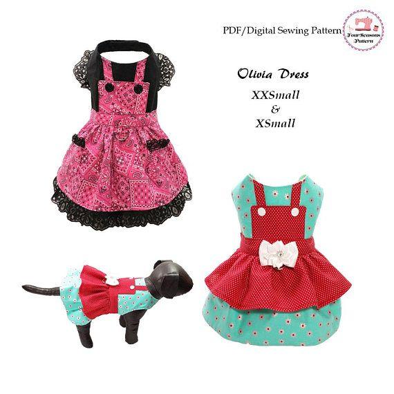 Olivia Dog Dress Pattern Xxsmall Xsmall Dog Clothes Sewing