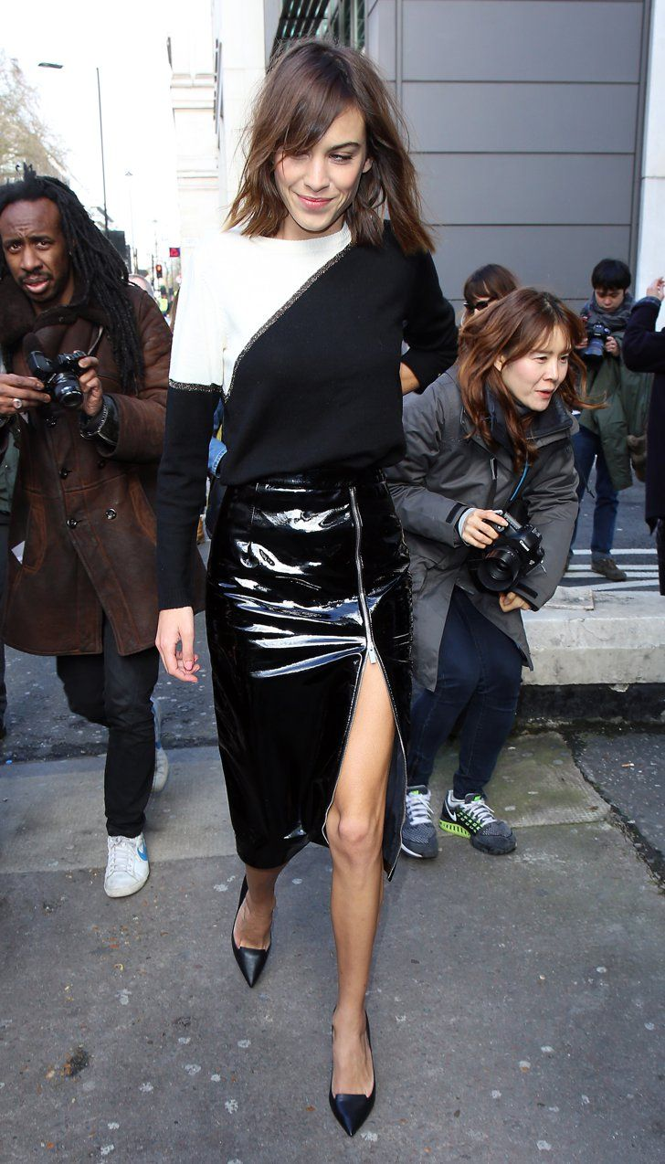 Pin for Later: The Burberry Front Row Upped the London Fashion Week Ante Alexa Chung Alexa sexed it up in a PVC skirt as she made her way to the Erdem show.