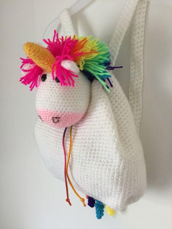 Mochila crochet unicornio por KimsCrochetCrafts en Etsy