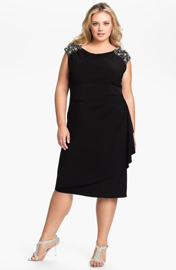 If only it had sleeves!!! Alex Evenings Beaded Shoulder Faux Wrap Jersey Dress (Plus) available at #Nordstrom