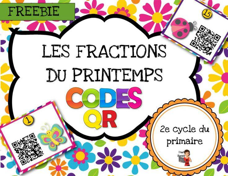 FREEBIE-GRATUIT   Codes QR des fractions Les fractions du printemps-CODES QR