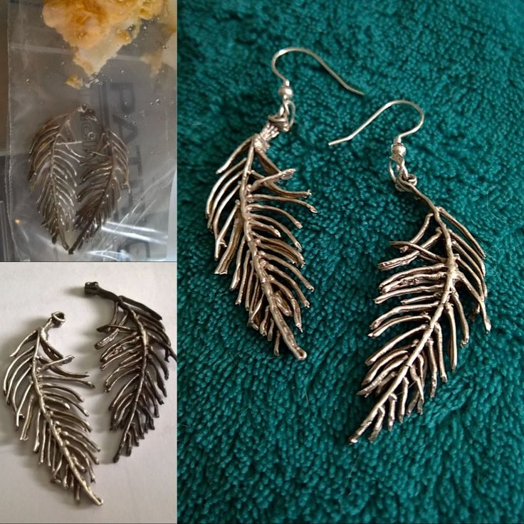 Feather earrings I made from silver clay, and patinated using boiled egg.