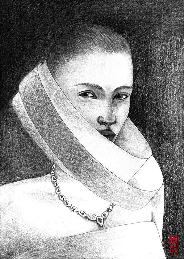 pencil drawing_female_4B,2B_20140710