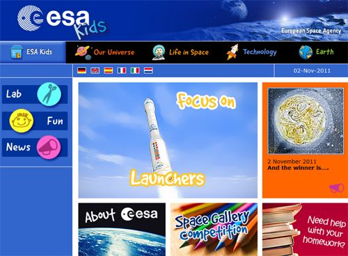 "ESA Kids. There is a lot of impressive material at this website buried under cute, cartoon imagery for the kids. For example, in the Lab section, kids will discover amazing portraits of land on earth, the I-Spy camera on the Space Station, and instructions on how to track real ESA spacecraft in orbit.  Kids will probably enjoy spending most of their time in the ""Fun"" section of the site, where they'll find coloring books, an art gallery, puzzles, quizzes and even free downloads of space..."