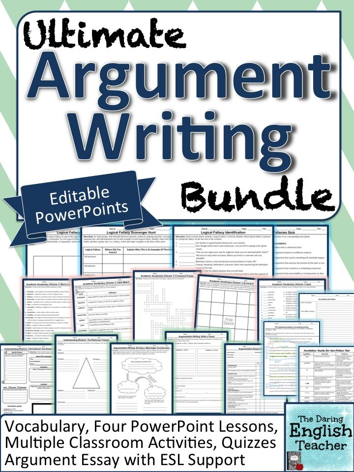 activities for argument essay Writing workshop 2 1• preview the learning targets and the introduction to argumentative writing for this writing workshop 2 this sequence of activities is designed to provide direct writing.