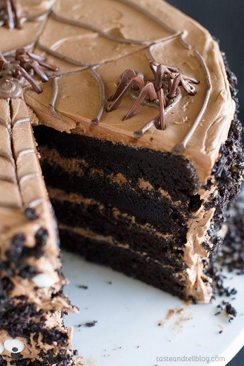 Deep Dark Chocolate Cake with Creamy Nutella Buttercream